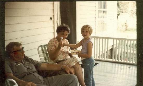 Helen with Grandpa and Grandma Gislason, porch