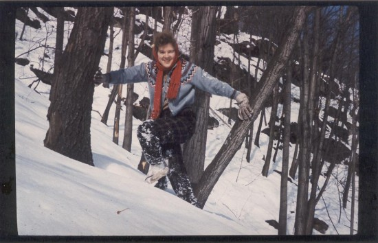 Mom 1960 icelandic sweater hiking in NY