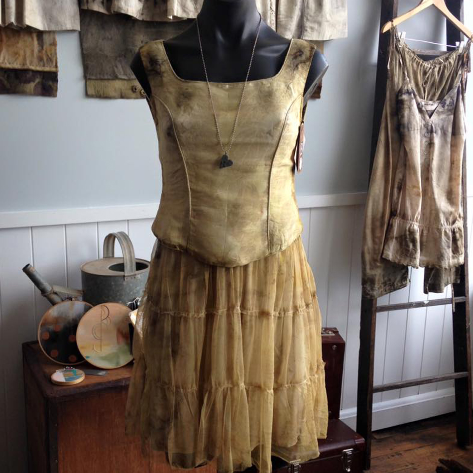 Rita Summers of Gone Rustic Studio + Gallery finds great inspiration in working with textile techniques, especially eco dyeing. Her garments are feminine and soft and her quilts reflect the botanical color schemes and designs of her hand dyes. Her work is open to the public through the gallery, located in St Marys, Tasmania, Australia.